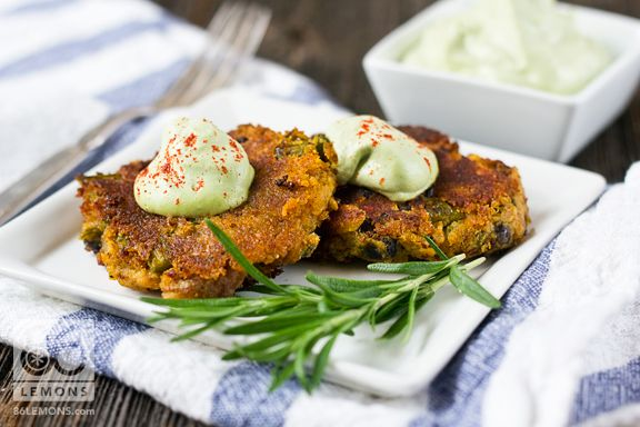 Sweet Potato Asparagus Cakes with Lemon Basil Cream. #vegan #glutenfree