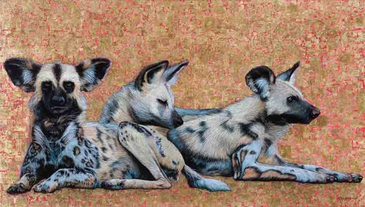 """""""Wild Dogs at Dawn"""", Oil and Gold Leaf on Canvas, 80cm by 140cm, (2015) by Marc Alexander"""