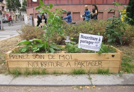 'Take care of me. Food to share.' Business and homeowners in France grow vegetable gardens in their front yards in order to share with the community.