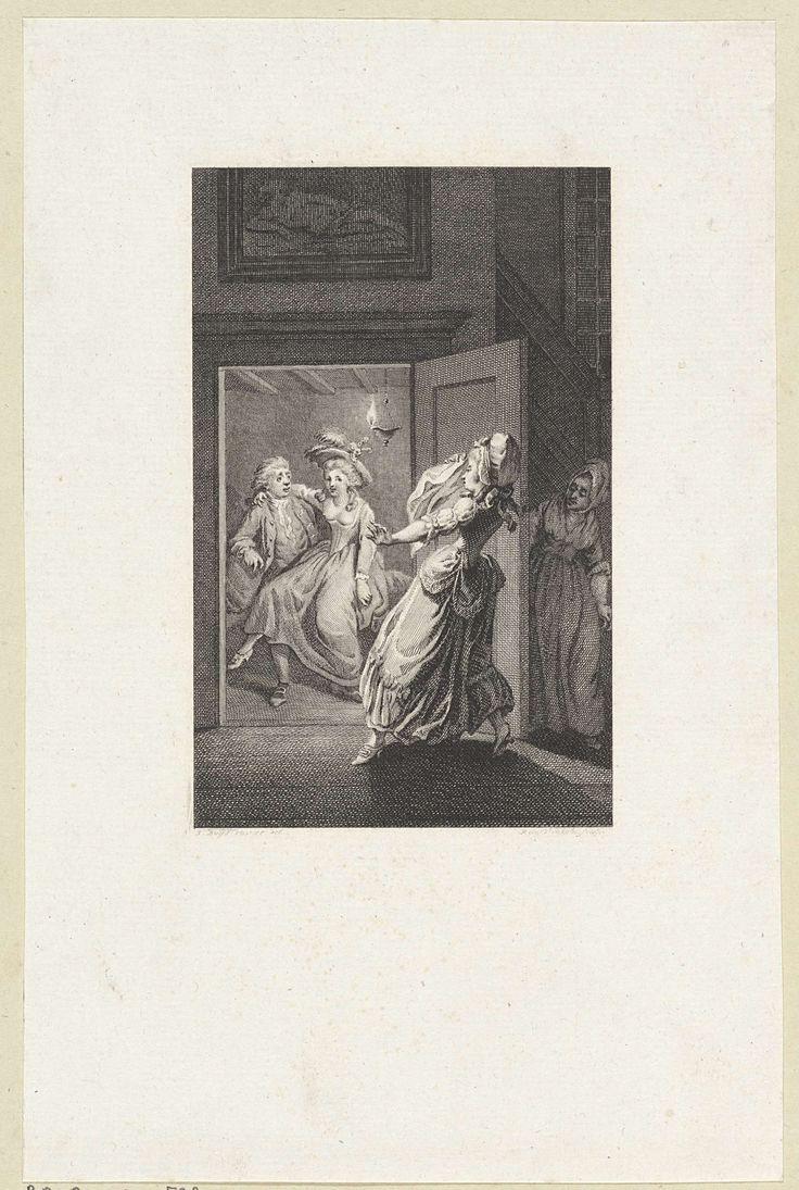 Liefdespaar betrapt door een vrouw, Reinier Vinkeles, 1751 - 1816