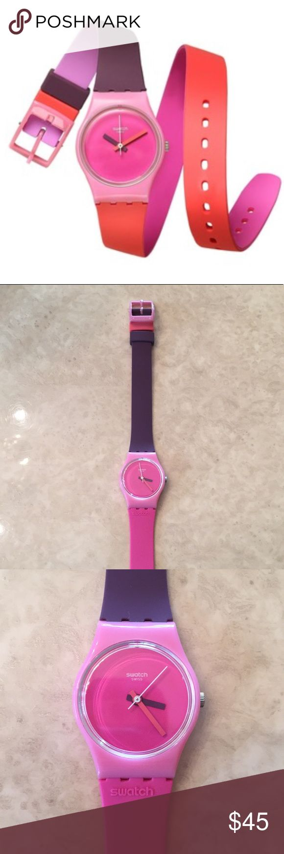 SWATCH WATCH Swatch watch..Fun In Pink..worn only once..in excellent condition..just got new battery from Swatch store..wraparound watch..pink face with pink and purple wristband..comes with box..refer to pics.. Swatch Accessories Watches