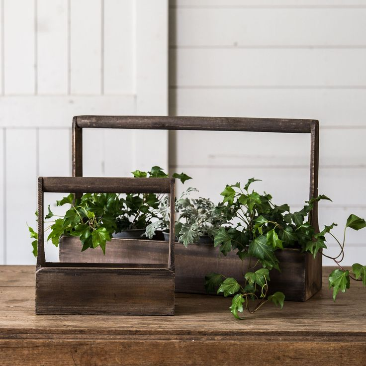 Wood Planter Basket - Magnolia Market | Chip & Joanna Gaines  Store a few books that we are currently reading in this cute wooden planter