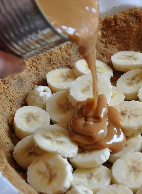 Banana caramel pie.  the easiest pie you will ever make - cook an unopened can of sweetened condensed milk in boiling water (very low boil) for 2-3 hours.  pour over a graham cracker crust with sliced bananas