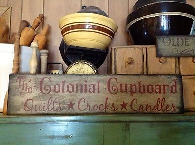 Hand Painted Primitive Wood Sign Colonial Cupboard Quilts Crocks Candles | eBay