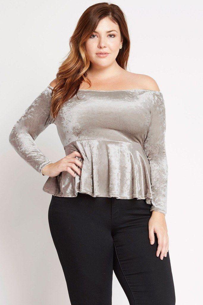 Innocent Velvet Off the Shoulder Peplum Top Plus Size – Poshsquare