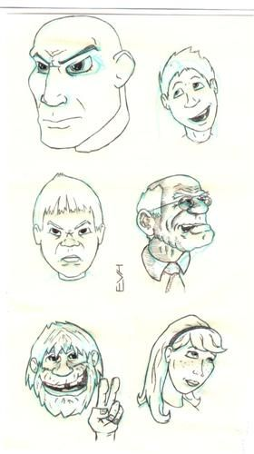 Faces are usually doodled by adolescent girls, seeking to produce an idealized self-portrait. Faces in profile, however, can be a sign of an introverted personality. Comic faces are usually drawn by men, indicating a desire to be the centre of attention.
