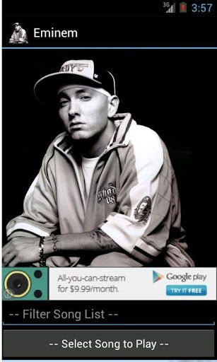 Watch a collection of Eminem's YouTube music videos from your Android phone!  Feel free to recommend videos to add, and don't forget to rate!<p>Song List:<p>3AM<br>8 Mile<br>40oz (ft. Eminem)<br>Baby<br>Bad Guy<br>Beautiful<br>Beautiful Pain (ft. Sia)<br>Berzerk<br>Brainless<br>Cleanin' Out My Closet<br>Cold Wind Blows<br>Crack A Bottle<br>Crazy In Love<br>Criminal<br>Desperation<br>Drop The World (ft. Eminem)<br>Drug Ballad<br>Evil Twin<br>Fast Lane<br>Fight Music (ft. Eminem)<br>Forgive…