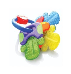 About the Product Multi-surface teething makes this teether perfect for assisting in the eruption of front, middle and back teeth When place in the refrigerator Nuby's PurICE technology provides gentle cooling on baby's gums Easy grip design is ideal for little hands and helps with coordination Combines exercise for young hands, gums, and teeth 3 Months + / BPA Free