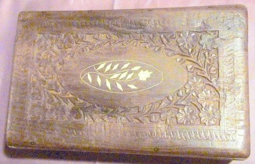 Vintage Disneyworld Hand Carved Wood and Inlay Trinket Storage Box with Lid #Asian