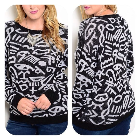 Black & White Sweater  Super soft knit pullover has stretch fit. Banded cuffs and hem. Hieroglyphic theme print. 50% Cotton 50% Polyester. A41 Sweaters Crew & Scoop Necks