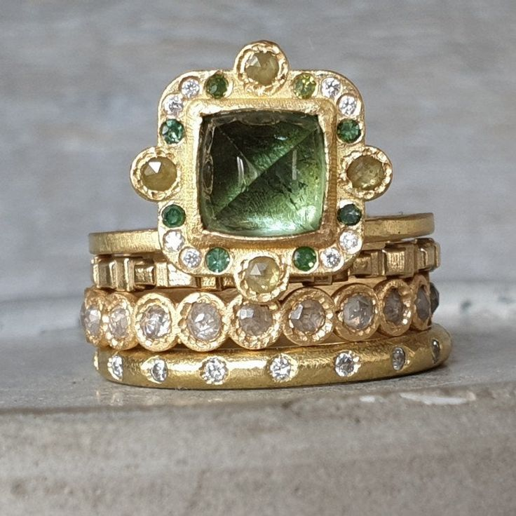Tourmaline ring- aqua green tourmaline gold ring- rose cut diamond ring- green and white diamond ring- 18k gold cabochon tourmaline ring