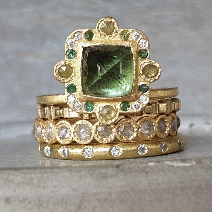 Tourmaline ring- aqua green tourmaline gold ring- rose cut diamond ring- green and white diamond ring- 18k gold cabochon tourmaline ring