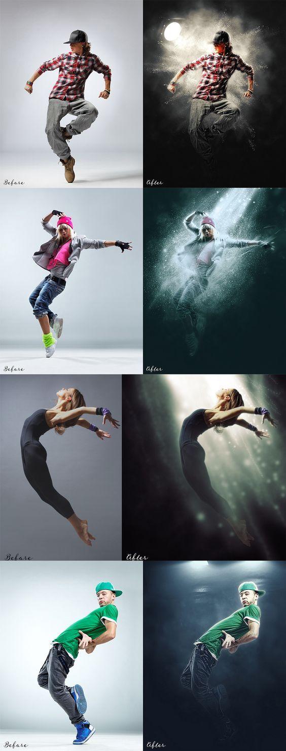 Light beam / spotlight photoshop actions