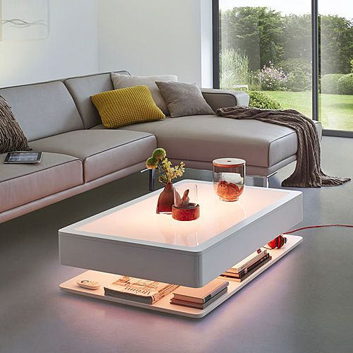 Lights on :: Ora Home coffee table from Moree :: Matt-white lacquered wood, integrated LEDs illuminate upwards matt-white table top