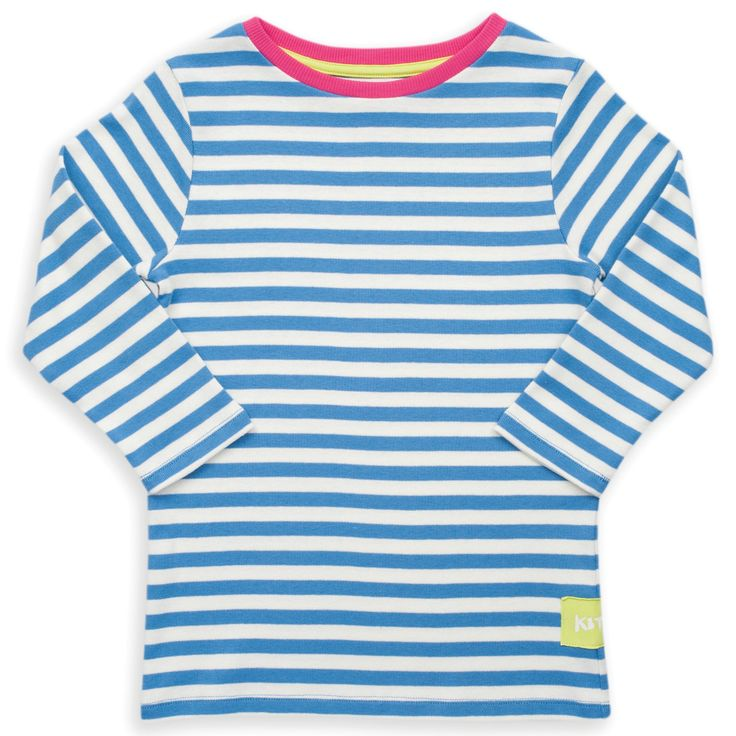 Organic Cotton Girl's 3/4 Sleeve Nautical T-shirt -A must have for the season, this rib jersey top is a versatile piece that is made in super soft fabric. Goes particularly well with our spotty jeans, or any of our leggings.  Made from organic cotton because it's good for the farmer, good for the planet and good for you.  Made in Turkey from 95% organic cotton, 5% elastane. Fair Trade - Solne Eco Department Store