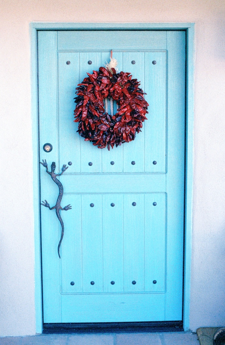 Southwest-Style Pueblo Desert Adobe Home Blue Door u0026 Chili Pepper Wreath & 212 best Guest Cottage images on Pinterest | Home ideas Romantic ...