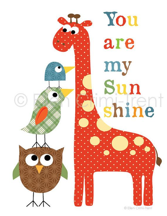 Kids Nursery decor-colorful giraffe and birds for boys via Etsy
