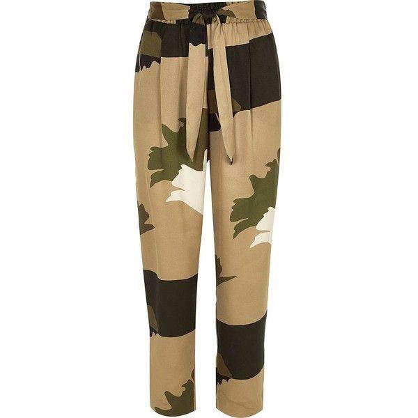 River Island Khaki brown soft tie tapered pants ($34) ❤ liked on Polyvore featuring pants, coordinates / matching sets, khaki, sale, women, khaki pants, relaxed fit pants, tapered leg pants, high-waisted pants and tapered khaki pants