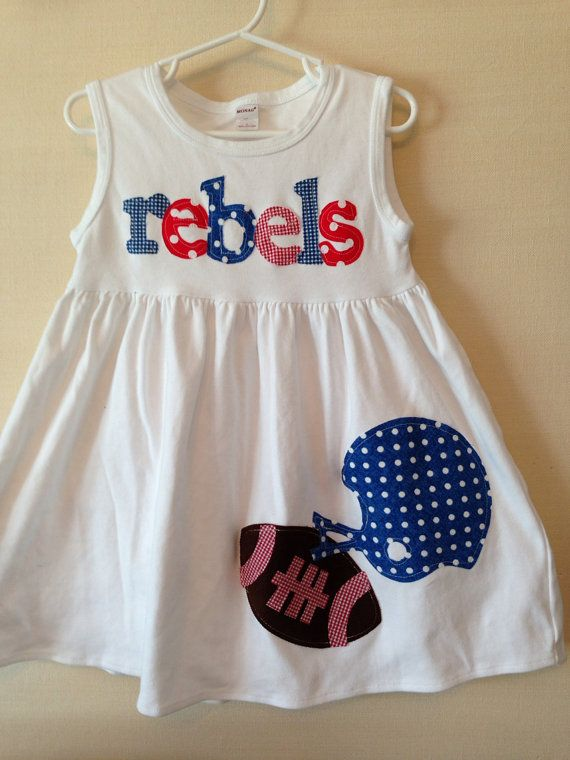 Football Dress - Ole Miss Rebels Toddler Dress - Football Applique  Dress- You Choose Your Team Mascot and Colors on Etsy, $32.00