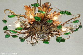 Italiaanse plafonniere 26373 bij Van der Lans Antiek. Meer antieke lampen op www.lansantiek.com