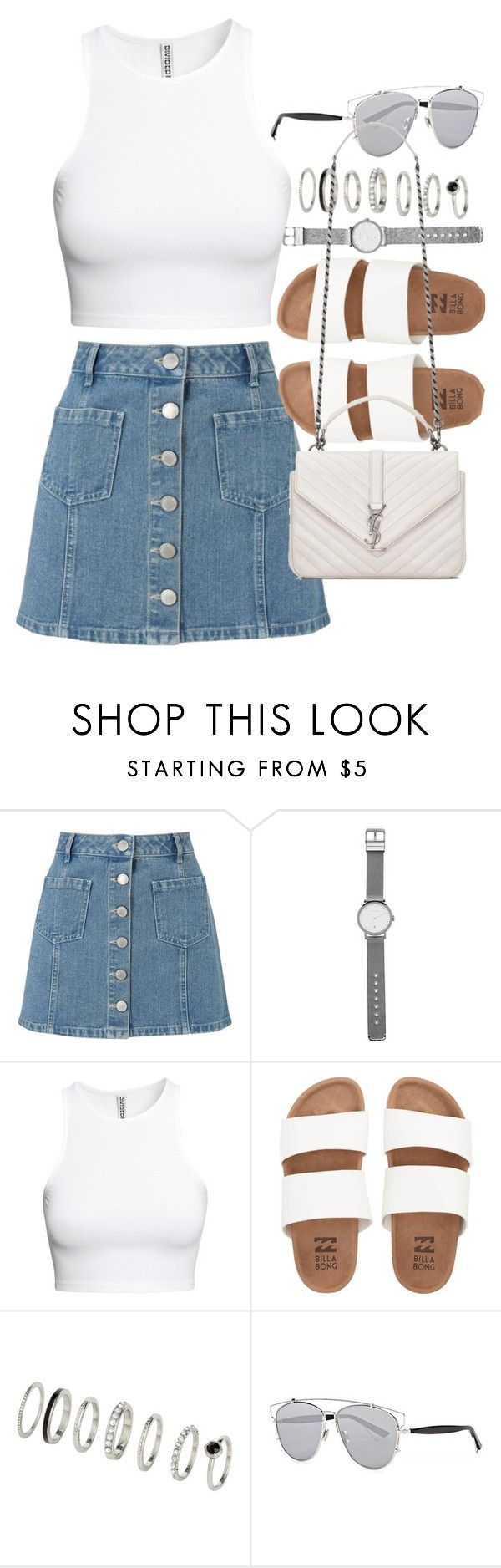"""""""Outfit with denim skirt and white tank top"""" by ferned ❤ liked on Polyvore featuring Miss Selfridge, Witchery, H&M, Billabong, Christian Dior and Yves Saint Laurent"""