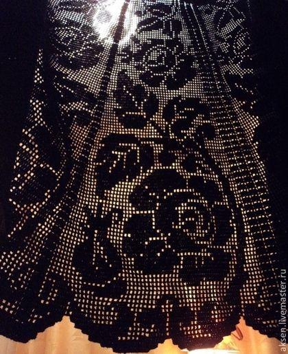 Купить Филейное кружево - чёрный, филейное вязание, Филейное кружево, ажурное вязание, Вязание крючком