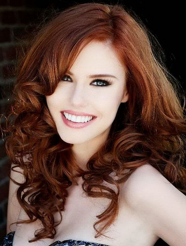 Light Auburn Hair Color With Side Bangs For Curly Hair # ...