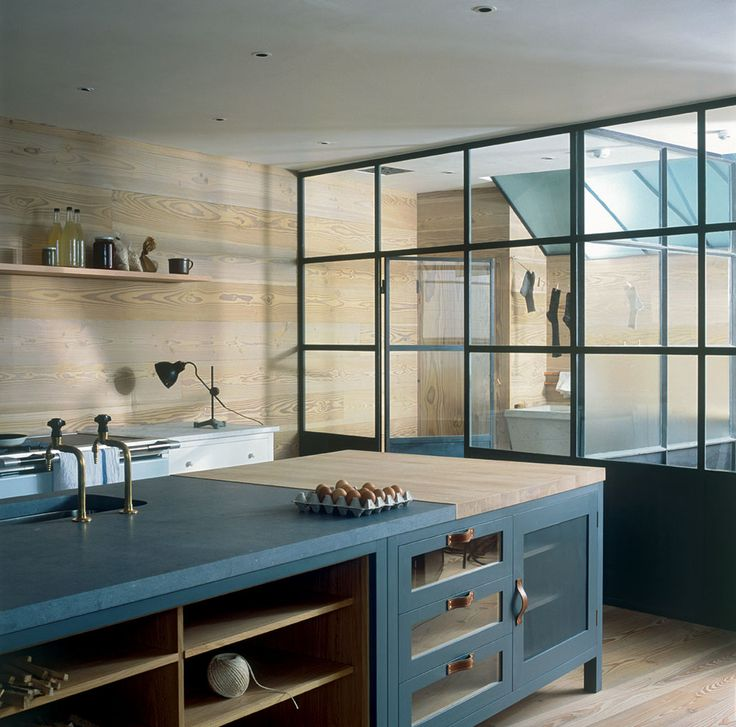 28 Small Kitchen Design Ideas: Timber + Storm Blue + Black Framed Windows