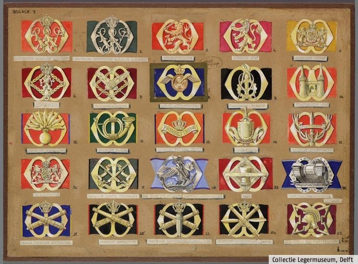 Designs for the new beret badges by F.J.H.Th. Smits, 1947