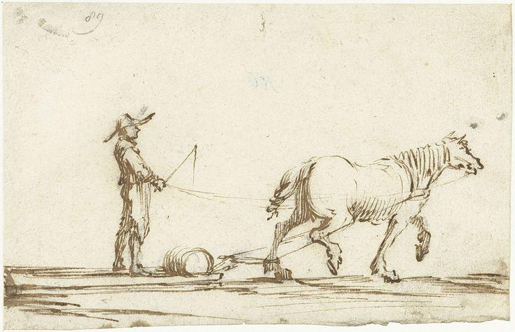 Gerard ter Borch (II) | Paard dat een slee trekt, Gerard ter Borch (II), c. 1633 - c. 1634 | Een paard dat een slee trekt met daarop een vat en een man die de leidsels vasthoudt.