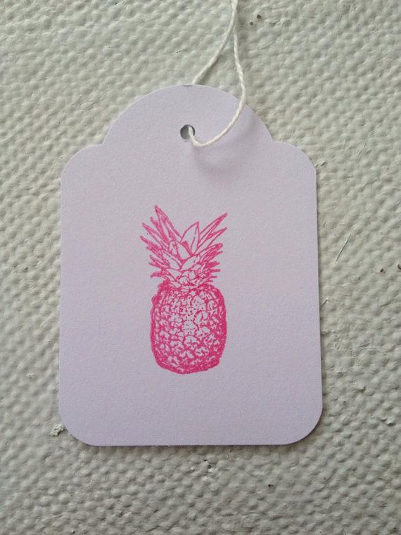 Hand Stamped Quirky Pink Pineapple Tags by TypeWright on Etsy