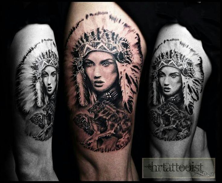 Native indian girl and wolfs