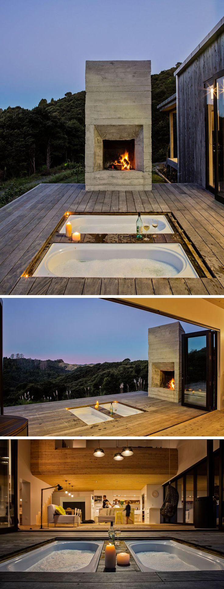 This modern house has an outdoor deck with a board-formed concrete fireplace and sunken bathtubs.