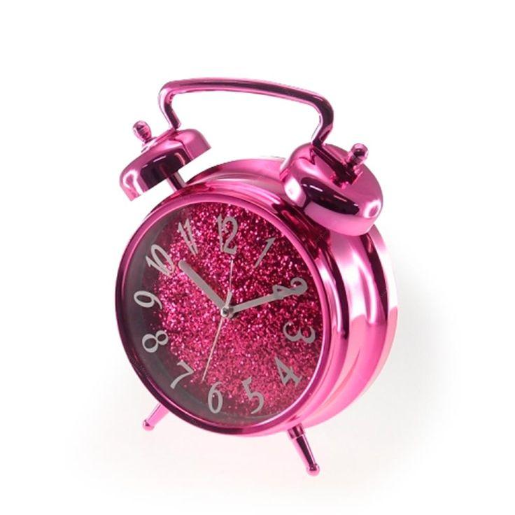 Relógio Despertador Rosa com Fundo em Purpurina - 26x19 cm