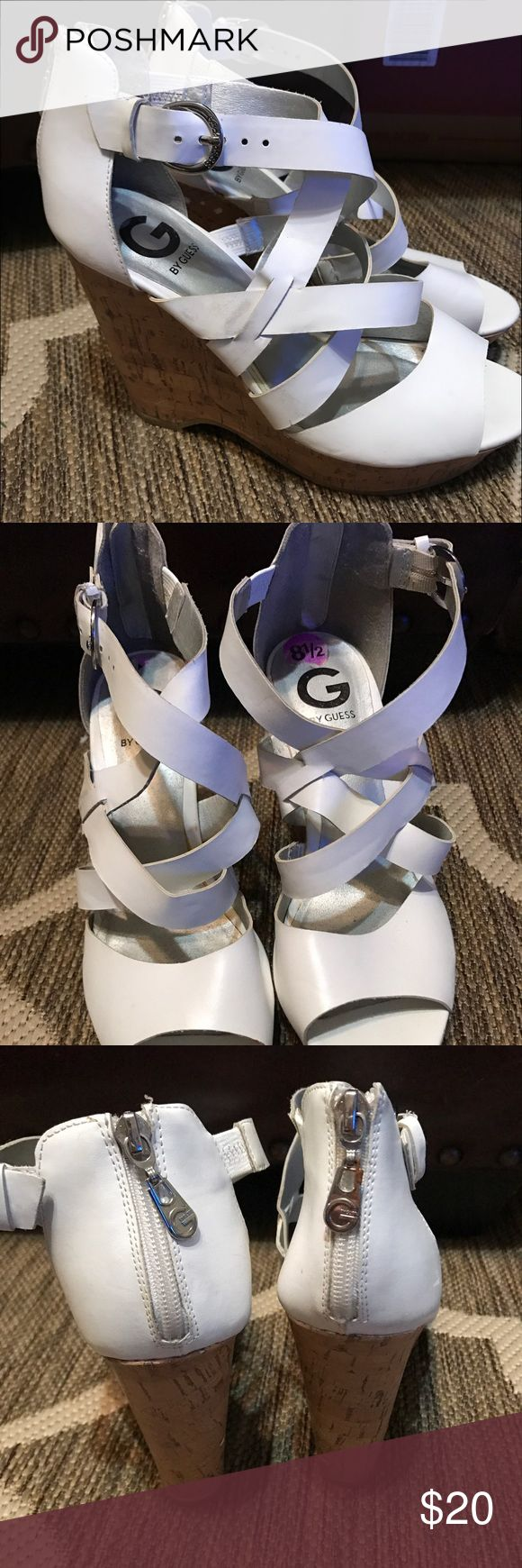 Used white wedges G By Guess shoes. Size 8 1/2, only worn once for a sorority recruitment. Fun with jeans or a cute summer dress. G by Guess Shoes Wedges
