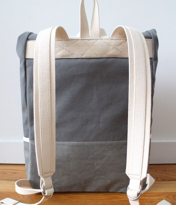 Roll Top Canvas Backpack, back