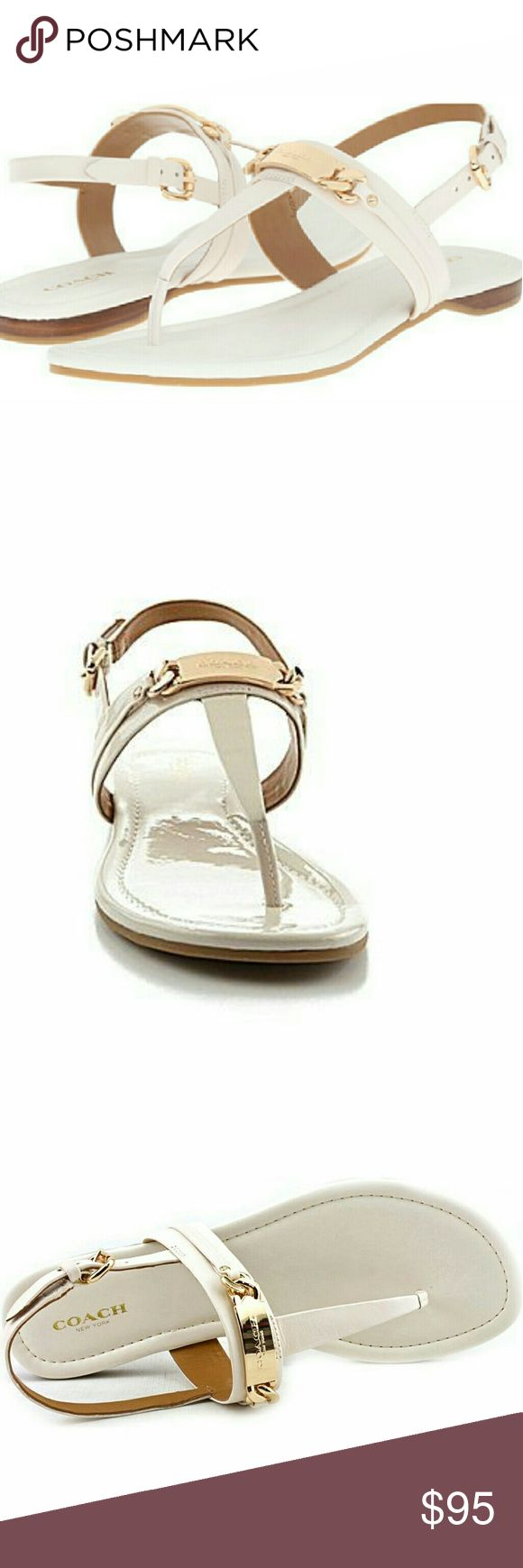 NWOB COACH | Caterine Sandals Bright signature hardware accents the simple shape of a minimalist sandal with the look of lacquer. It's refined design is finished with smooth leather linings and a lightly padded insole.   * Style: Caterine #A7799 * Color: Chalk (looks cream/off-white) * Upper: patent leather * Rubber covered leather sole * Gold-toned hardware with chain link detail * Thong style front with buckle * Brand new, no box included  Reasonable offers always considered. Over 175…