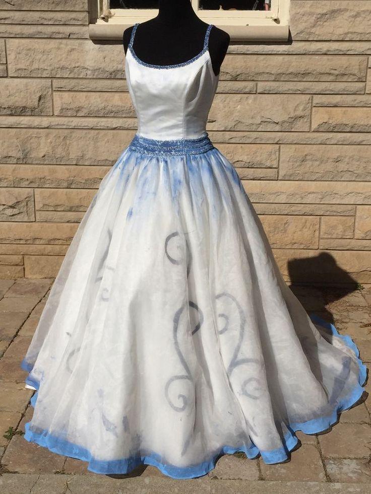The Corpse Bride Wedding Dress Gown Halloween Costume OOAK Hand Painted Sz 10
