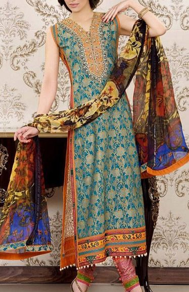 Buy Turquoise Embroidered Luxury Lawn Dress by Asim Jofa Luxury Lawn Collection 2015