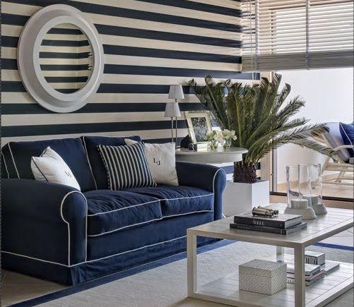 Anna Cordeiro, from Portugal: Ideas, Living Rooms, Beaches House, Nautical Decor, Stripes Wall, Blue, Navy Sofa, Coastal Decor, Striped Walls
