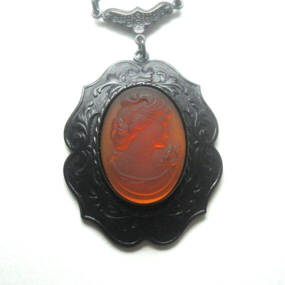 Victorian Gothic Jewelry Cameo Pendant Necklace by pink80sgirl,