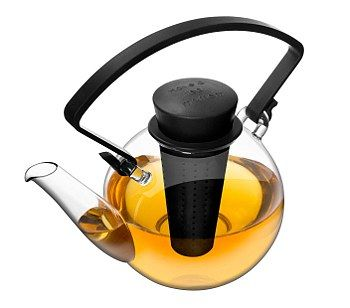 Glass Teapot with Clip Handle - Black