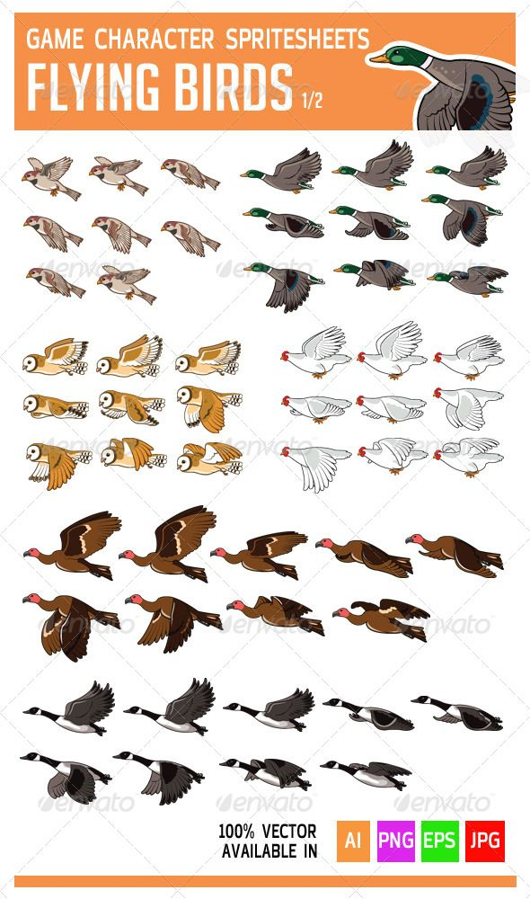 Flying Bird Game Character Sprite #GraphicRiver See the preview of the animation at: .fastswf /ir7N80I