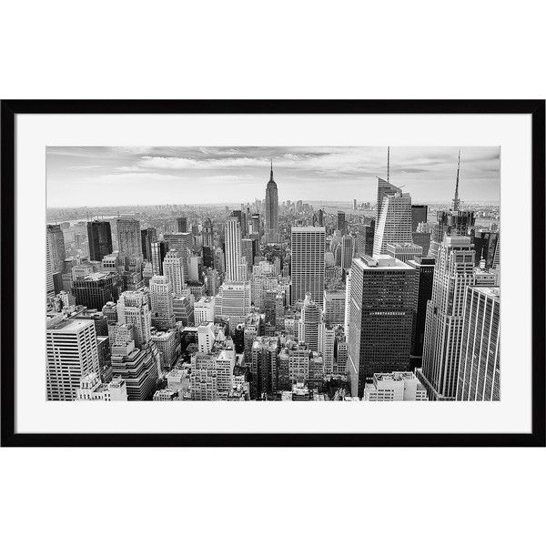 """Dot & Bo New York, New York Wall Art - 18"""" x 13"""" ($58) ❤ liked on Polyvore featuring home, home decor, wall art, black and white centerpieces, anchor home decor, black white wall art, cityscape wall art and skyline wall art"""