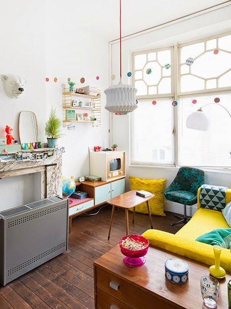 Midcentury clean colorful concept