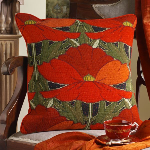 Poppies - New needlepoint canvas from Ehrman Tapestry designer Raymond Honeyman