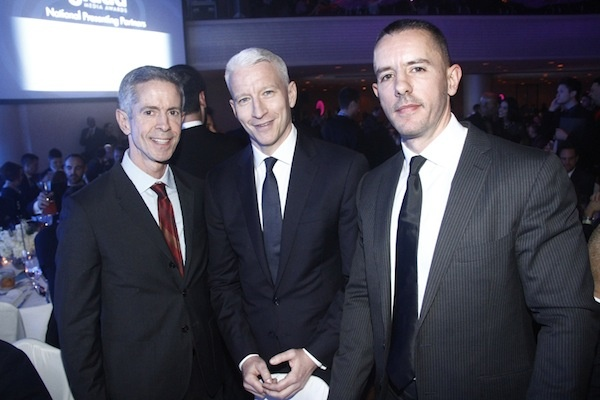 Peter Staley with Anderson Cooper and partner Benjamin Maisani Glaad Awards