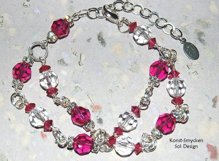 Bracelet with Fuchsia Swarovski Crystals by KonstSmycken, Sol Design.