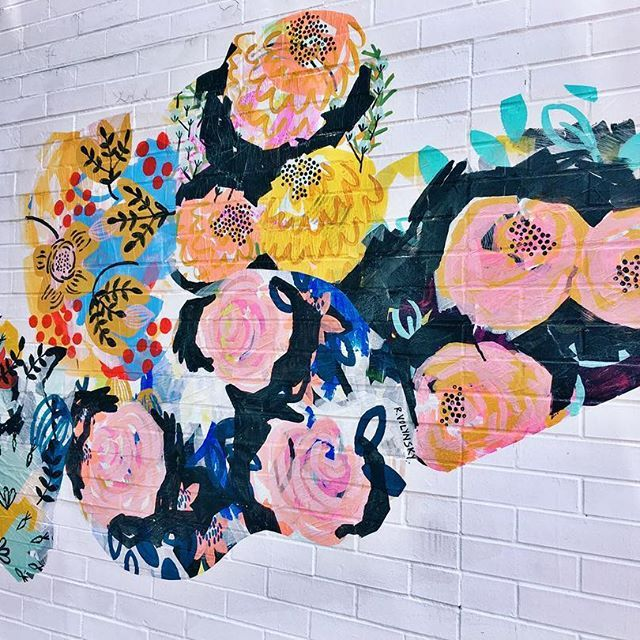 """""""And the day came when the risk to remain tight in a bud was more painful than the risk it took to blossom."""" — Anaïs Nin   """"Cultivate, Then Bloom"""", a public art painting & collage for @pvd_fest on view at 814 Hope Street through June 18.  .  Thank you to the #ProvidenceRI Arts, Culture & Tourism Department and @hopestreetmerchants for helping make this piece happen.  .  #PVDFest2017 #PVDFest #cultivatethenbloom"""