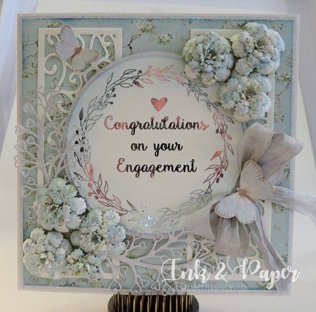 Engagement card with foiled graphics and handmade flowers! Sue Wilson Dies are used on this one and the papers are Pion songbird collection!